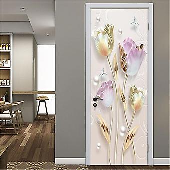Flower Door Mural Self-adhesive Waterproof Vinyl Poster