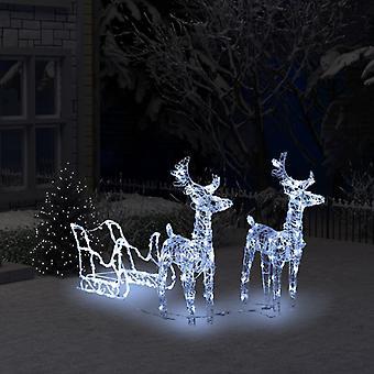 vidaXL Reindeer Sleigh Christmas Decoration 240 LEDs 130 cm Acrylic