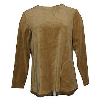 Denim & Co. Feminino Top Active Regular Velour Tunic Bege A260064
