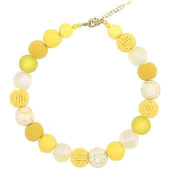Feliss Kette Damen Halsketten fr Frauen Gelbe Perlenkette ohne Anhnger 45 cm lang Schmuck Geschenk