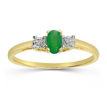 LXR 10k Yellow Gold Oval Emerald and Diamond Ring 0.16 ct