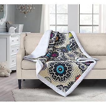 Spura Home Tropical Nadira Transitional Quilted Sherpa Throw