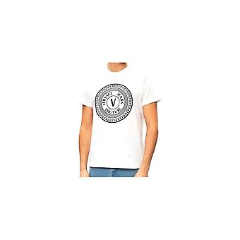 Versace Jeans Couture Cotton Rubberised Logo White T-shirt