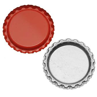 Final Sale - New Red Flat Crown Bottle Caps Craft Scrapbook Jewelry No Liners (50)