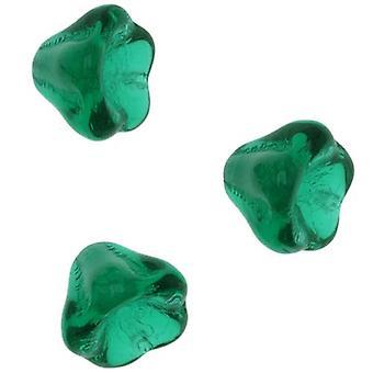 Tšekin lasiset läjät 6mm X 8mm Kukkakello Beadcaps Smaragdinvihreä (15)