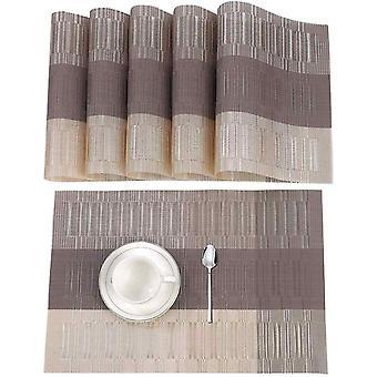 Wokex Hitzebeständiges waschbares rutschfestes PVC-Tischset für Haus und Restaurant 6 Pack Beige