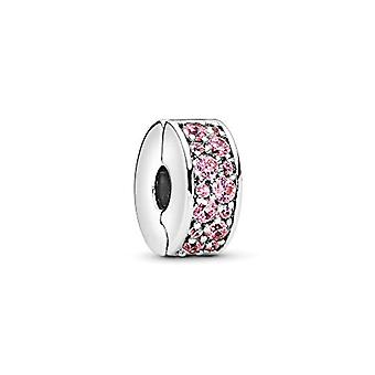 باندورا - بريق قلادة باف من مقطع 925 في الزركون الفضة والوردي من 791817pcz