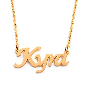 """L KYRA - 18-carat gold-plated necklace, with custom name, adjustable chain of 16""""- 19"""