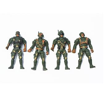 4pcs Military Soldiers With 5 Joints 9cm Set Action Figures Playset Green