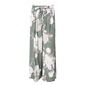 Sash Floral Print Wide Leg Elastic Loose Boho Casual Pants For Women