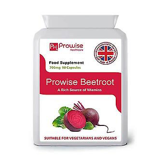 Beetroot 700mg 90 Capsules  | Suitable For Vegetarians & Vegans | Made In UK by Prowise