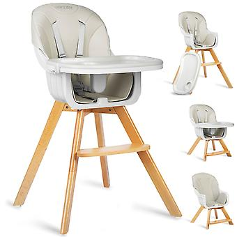 High chair adjustable with wooden legs – Grey