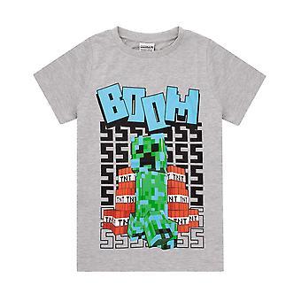 Minecraft camiseta chicos | Niños cargados creeper carácter manga corta gris top | TNT BOOM para niños Mercancía explosiva