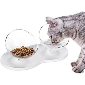 Futternäpfe Katzenfutter,Futternapf Katze,rutschfeste Basis Doppelschüssel,Futterschüssel