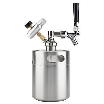 Barril de acero inoxidable con grifo, elaboración de cerveza a presión artesanal, dispensador de cerveza