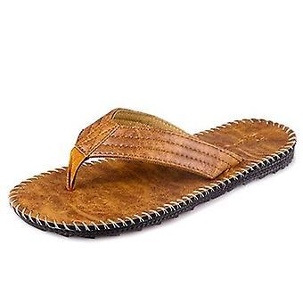 Zomer lederen strand teenslippers naaien stijl slippers