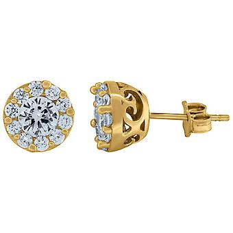 10k Yellow Gold Mens Round CZ Cubic Zirconia Simulated Diamond Round Stud Earrings Jewelry Gifts for Men