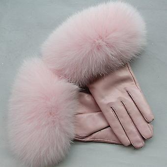 Fox Fur Gants d'hiver en cuir véritable pour femmes