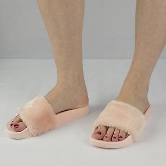 Shumo Tito Ladies Fur Sliders Pink