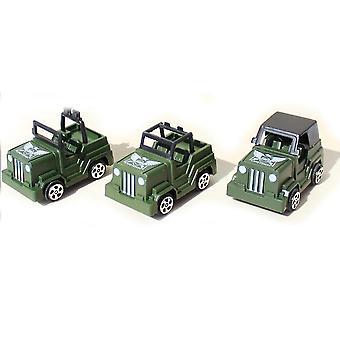 New 3pcs World War Military Jeep Toys Battlefield Car Figures Playset ES12785