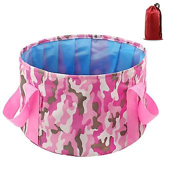 Camouflage pink 14l oxford cloth 14l portable folding basin outdoor camping portable bucket homi4359