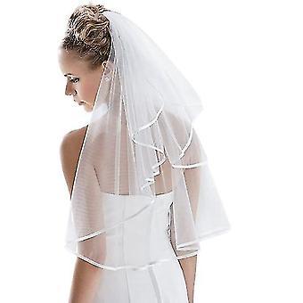 Braut Schleier Frauen's einfache Tüll, Hochzeit Schleier Band Rand mit Kamm