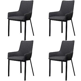 vidaXL chaises à manger 4 pcs. tissu gris foncé