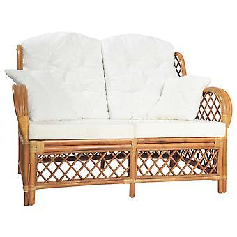 vidaXL 2-paikkainen sohva vaaleanruskea rottinki