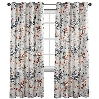 Cortinas opacas de lino 2X habitación larga oscureciendo efecto arpillera cortinas de cortina de lino para sala de estar / dormitorio impresión floral gris y coral vintage