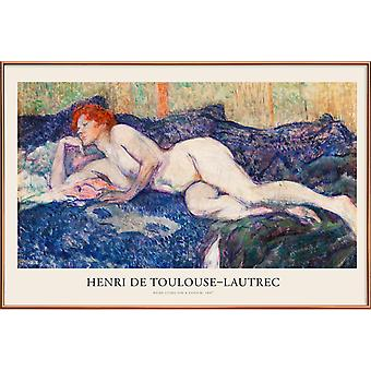 JUNIQE Print -  Toulouse-Lautrec - Nude Lying on a Couch - Klassische Kunst Poster in Bunt & Cremeweiß