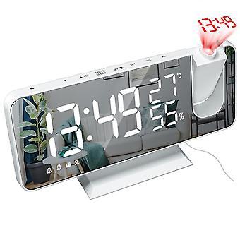 Haushalt Acryl Spiegel Bildschirm LED DigitalAnzeige Wecker USB Ladeprojektor Wecker