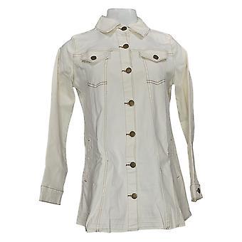 LOGO by Lori Goldstein Women's Button Front Denim Jacket Beige A378661