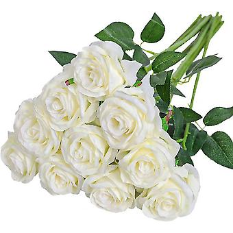 Set Of 12 Artificial Roses Deco Fake Silk Flowers With Single Stem