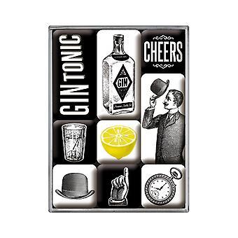 Uppsättning av 9 vintage gin och tonic nostalgiska magneter