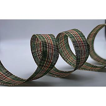 Wire Edged Ribbon 1.5 inches Wide 3 Metres - Red and Green Tartan