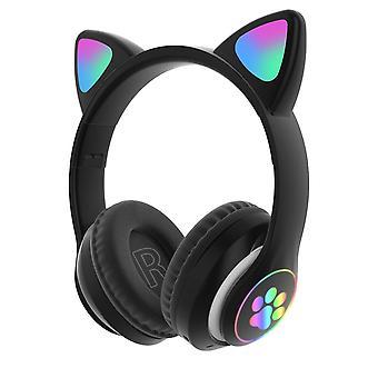 Flash light cute cat ears bluetooth wireless headphones with mic(Black)