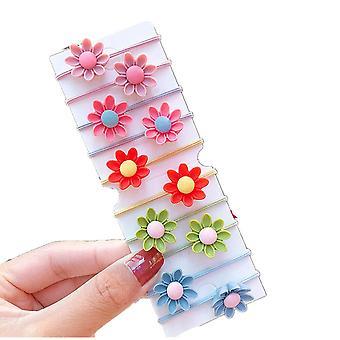 4SET 10PCS/Set Nye piger Cute Farverige Blomster Elastisk Hår Bands Kids Ponytail Holder Scrunchie