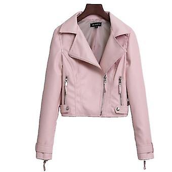 ミミゴ レディース フェイク レザー モト バイク ショート コート ジャケット ブラック ピンク ベージュ