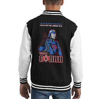 GI Joe omröstning Cobra Commander mindre onda Kid's Varsity jacka