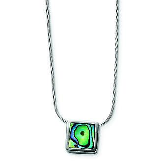 925 Sterling Silver Solid Open back Rhodium plated Lobster Claw Closure Abalone Pendant Necklace With Chain 16 Inch Spri