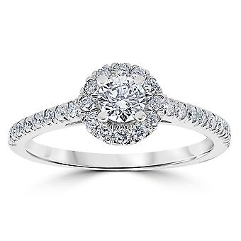 7/8ct Halo Lab Created Diamond Engagement Ring 14K White Gold