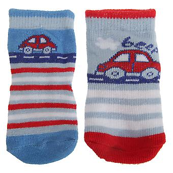 Baby Boys Footballer/Car Design Bootie Socks (Pack Of 2)