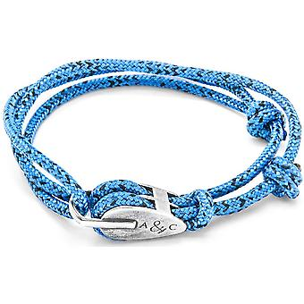 Anchor and Crew Tyne Silver and Rope Bracelet - Blue Noir