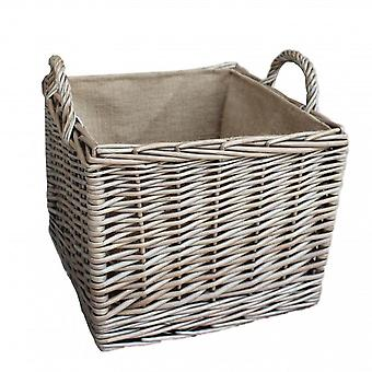 Medium Antique Wash Square Hessian Lined Log Basket