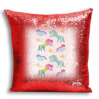 i-Tronixs - Unicorn Printed Design Red Sequin Cushion / Pillow Cover with Inserted Pillow for Home Decor - 7