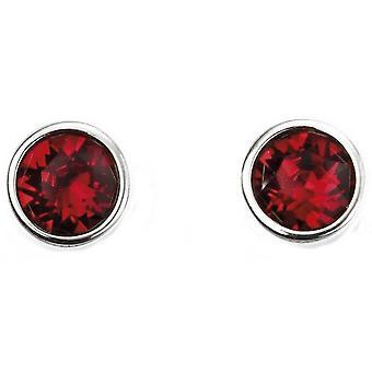 Anfang Juli Swarovski Geburtsstein Ohrringe - Silber/Rot