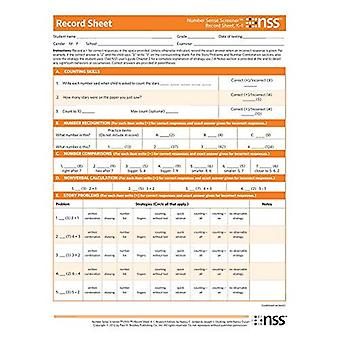 Number Sense Screener (Nss ) Record Sheets, K-1, Research Edition