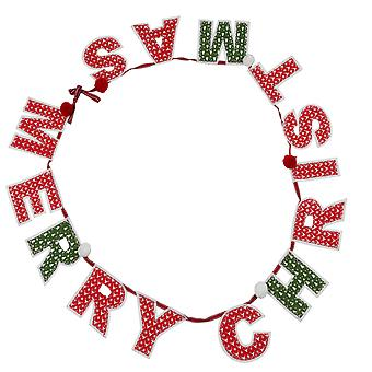 TRIXES Red White and Green Merry Christmas Pom Pom Garland