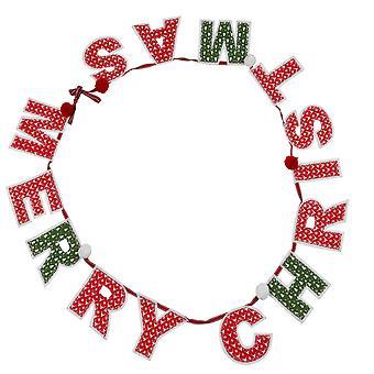 TRIXES röd vit och grön god jul Pom Pom Garland