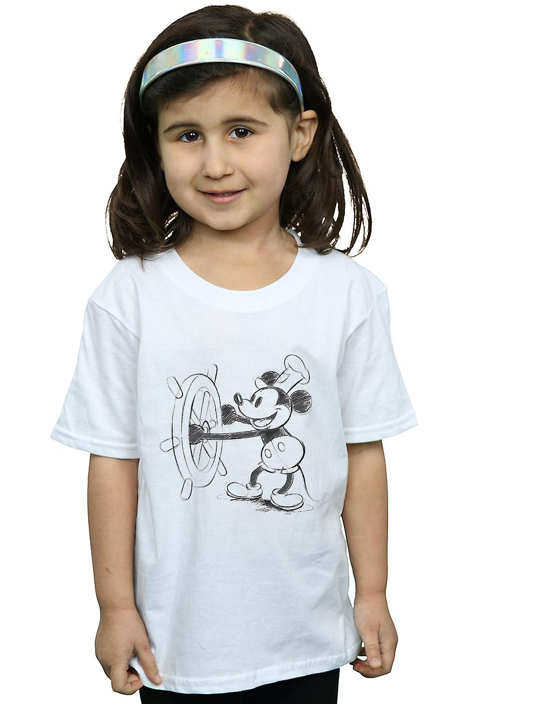 Disney Girls Mickey Mouse Steamboat Sketch T-Shirt